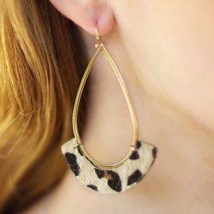 Jewelry - JUST SO SIMPLE OPEN TEAR DROP EARRINGS-LEOPARD